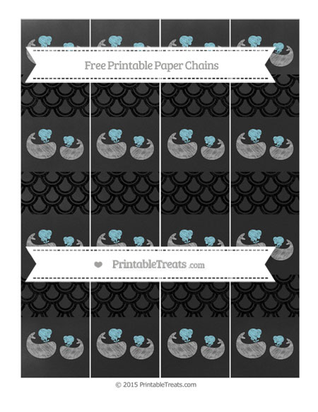 Free Black Fish Scale Pattern Chalk Style Baby Whale Paper Chains