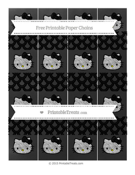 Free Black Fish Scale Pattern Chalk Style Hello Kitty Paper Chains