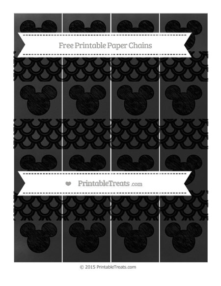 Free Black Fish Scale Pattern Chalk Style Mickey Mouse Paper Chains