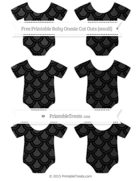 Free Black Fish Scale Pattern Chalk Style Small Baby Onesie Cut Outs