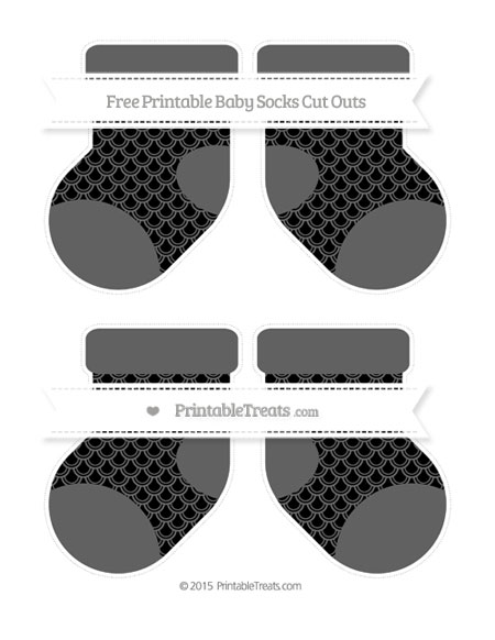 Free Black Fish Scale Pattern Medium Baby Socks Cut Outs