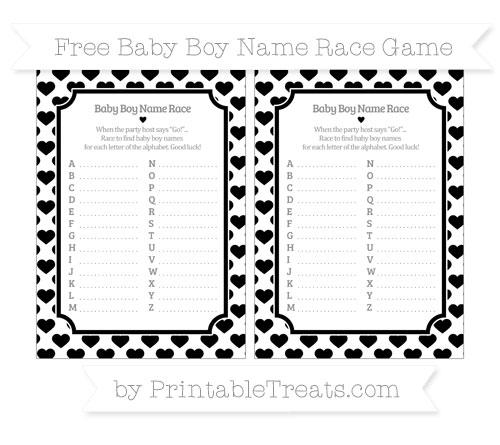 Free Black Heart Pattern Baby Boy Name Race Game