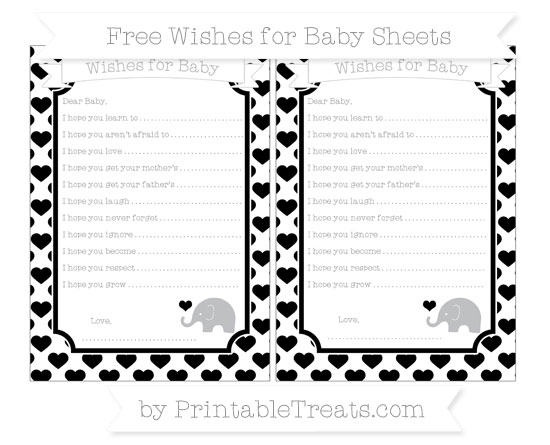 Free Black Heart Pattern Baby Elephant Wishes for Baby Sheets