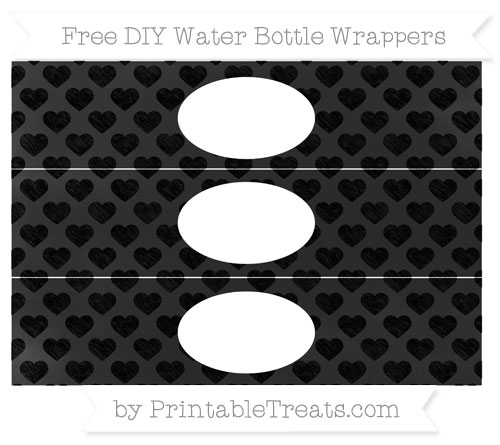 Free Black Heart Pattern Chalk Style DIY Water Bottle Wrappers
