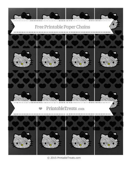 Free Black Heart Pattern Chalk Style Hello Kitty Paper Chains
