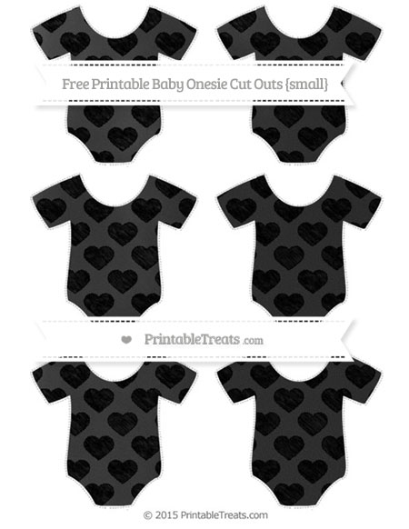Free Black Heart Pattern Chalk Style Small Baby Onesie Cut Outs