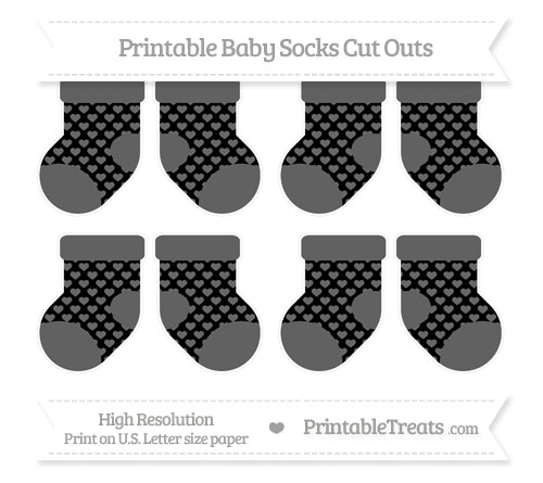 Free Black Heart Pattern Small Baby Socks Cut Outs