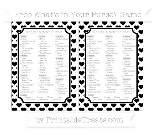 Free Black Heart Pattern What's in Your Purse Baby Shower Game