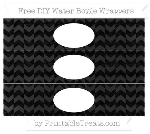 Free Black Herringbone Pattern Chalk Style DIY Water Bottle Wrappers