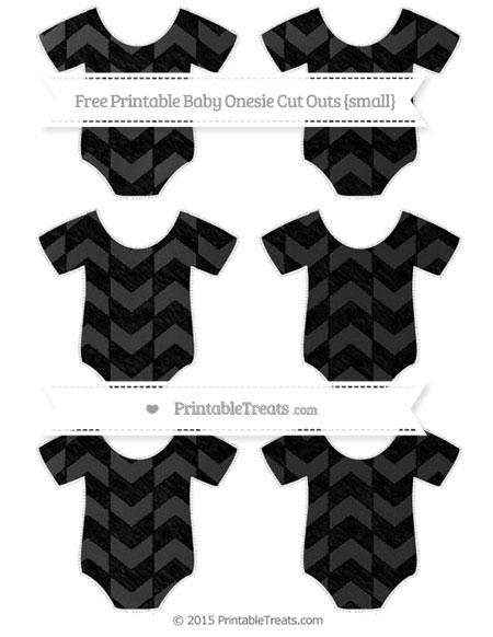 Free Black Herringbone Pattern Chalk Style Small Baby Onesie Cut Outs