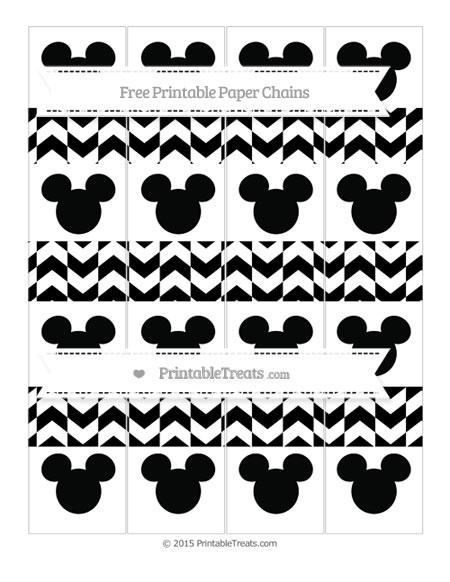 Free Black Herringbone Pattern Mickey Mouse Paper Chains