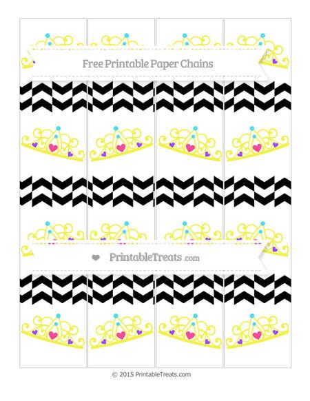 Free Black Herringbone Pattern Princess Tiara Paper Chains