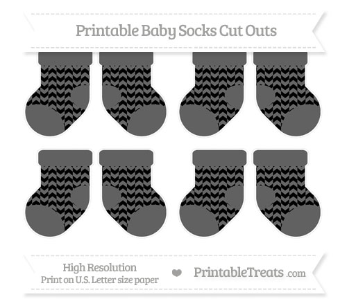 Free Black Herringbone Pattern Small Baby Socks Cut Outs