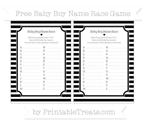 Free Black Horizontal Striped Baby Boy Name Race Game