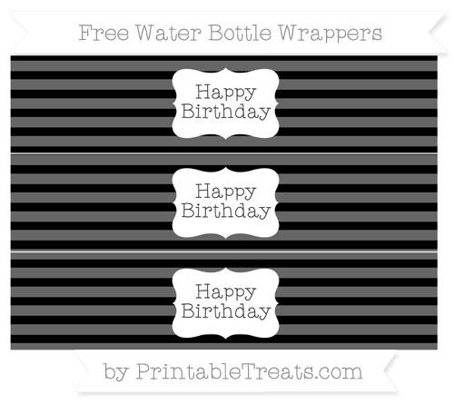 Free Black Horizontal Striped Happy Birhtday Water Bottle Wrappers