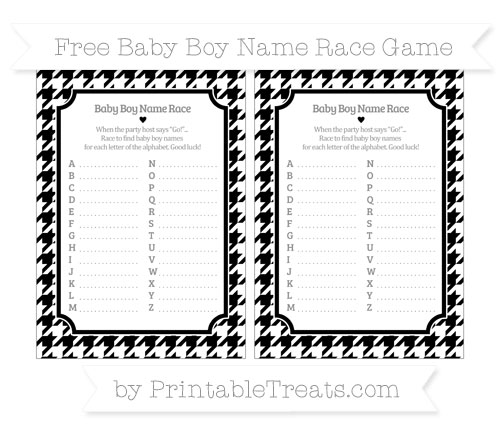 Free Black Houndstooth Pattern Baby Boy Name Race Game