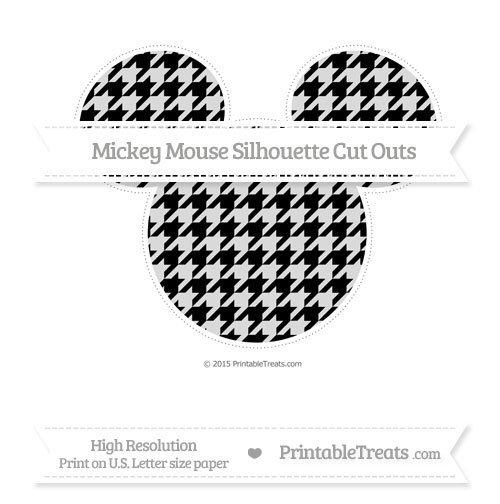 Free Black Houndstooth Pattern Extra Large Mickey Mouse Silhouette Cut Outs