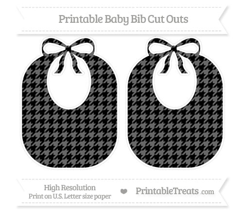 Free Black Houndstooth Pattern Large Baby Bib Cut Outs