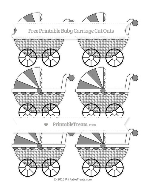 Free Black Houndstooth Pattern Small Baby Carriage Cut Outs