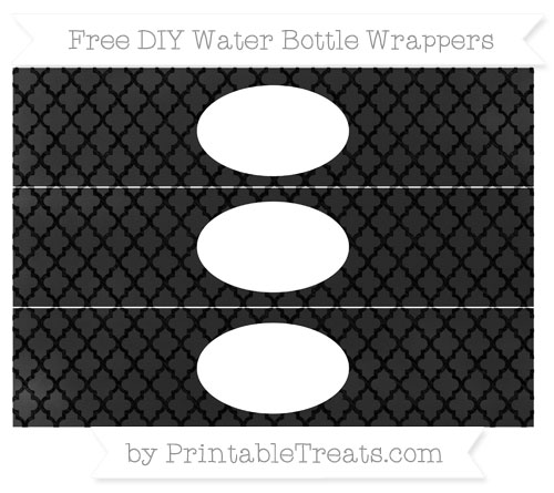 Free Black Moroccan Tile Chalk Style DIY Water Bottle Wrappers