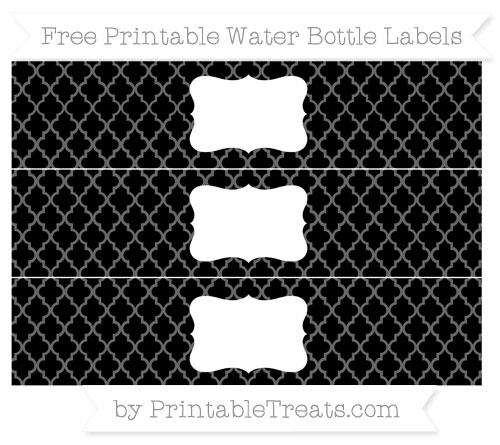 Free Black Moroccan Tile Water Bottle Labels