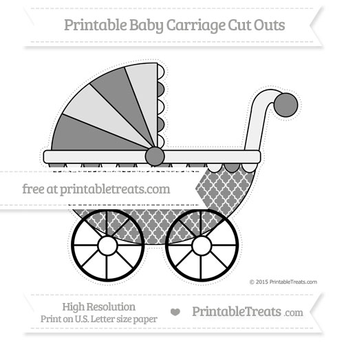 Free Black Moroccan Tile Extra Large Baby Carriage Cut Outs