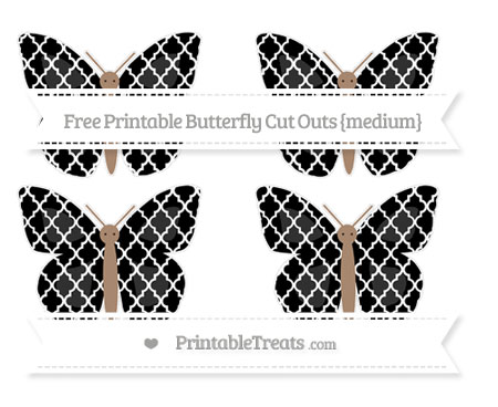 Free Black Moroccan Tile Medium Butterfly Cut Outs