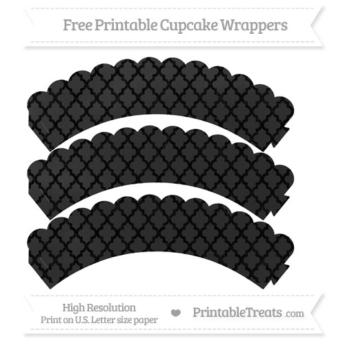 Free Black Moroccan Tile Pattern Chalk Style Scalloped Cupcake Wrappers