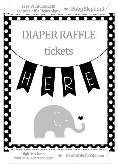 Free Black Polka Dot Baby Elephant 8x10 Diaper Raffle Ticket Sign