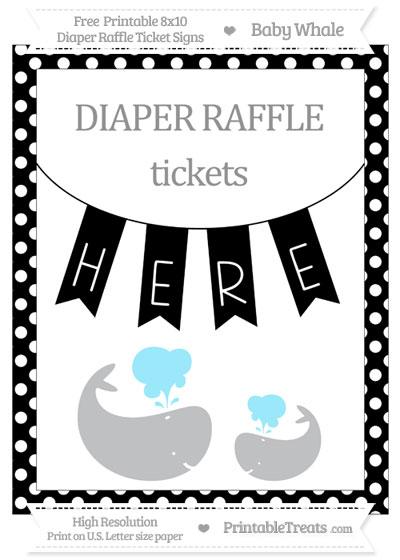 Free Black Polka Dot Baby Whale 8x10 Diaper Raffle Ticket Sign