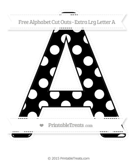 Free Black Polka Dot Extra Large Capital Letter A Cut Outs