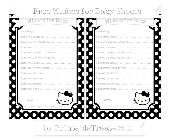 Free Black Polka Dot Hello Kitty Wishes for Baby Sheets