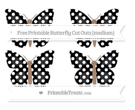 Free Black Polka Dot Medium Butterfly Cut Outs