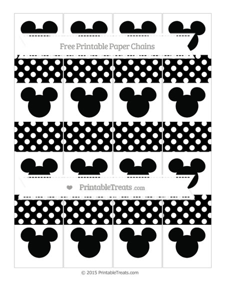 Free Black Polka Dot Mickey Mouse Paper Chains