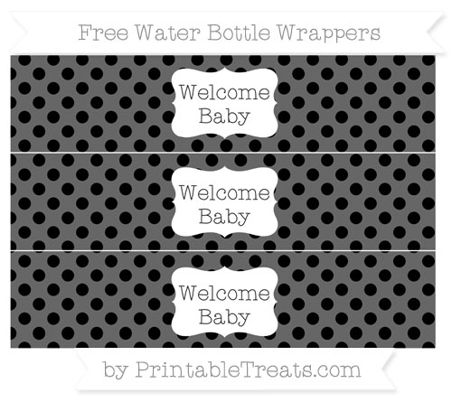 Free Black Polka Dot Welcome Baby Water Bottle Wrappers