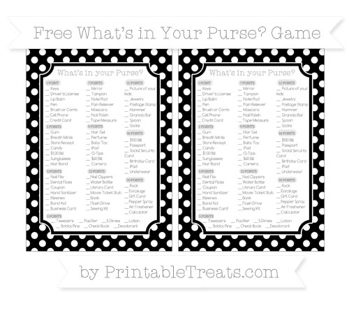 Free Black Polka Dot What's in Your Purse Baby Shower Game