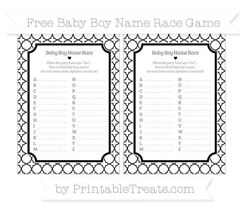 Free Black Quatrefoil Pattern Baby Boy Name Race Game