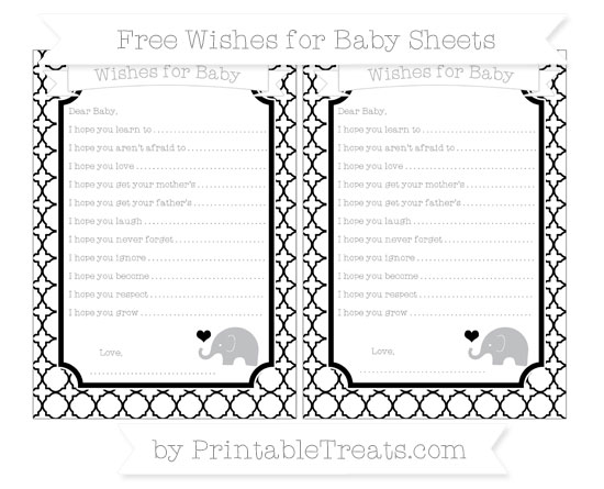 Free Black Quatrefoil Pattern Baby Elephant Wishes for Baby Sheets