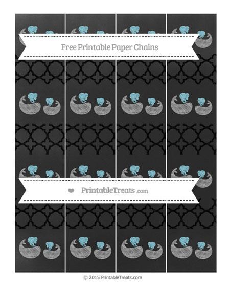 Free Black Quatrefoil Pattern Chalk Style Baby Whale Paper Chains