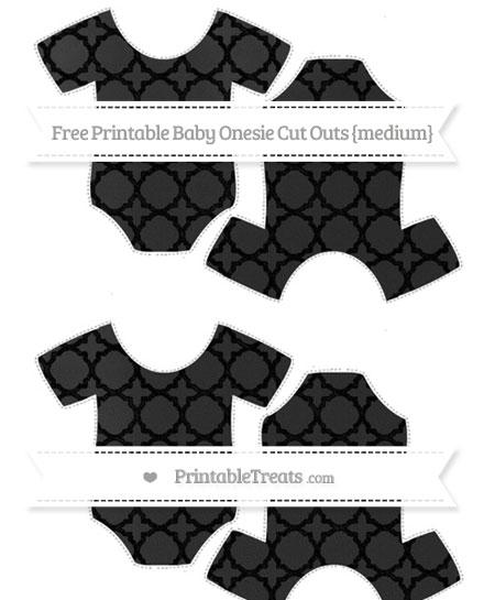 Free Black Quatrefoil Pattern Chalk Style Medium Baby Onesie Cut Outs