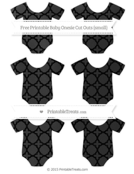Free Black Quatrefoil Pattern Chalk Style Small Baby Onesie Cut Outs
