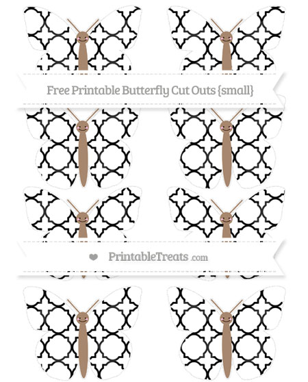 Free Black Quatrefoil Pattern Small Smiley Butterfly Cut Outs