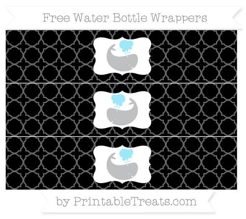 Free Black Quatrefoil Pattern Whale Water Bottle Wrappers