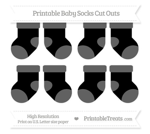Free Black Small Baby Socks Cut Outs