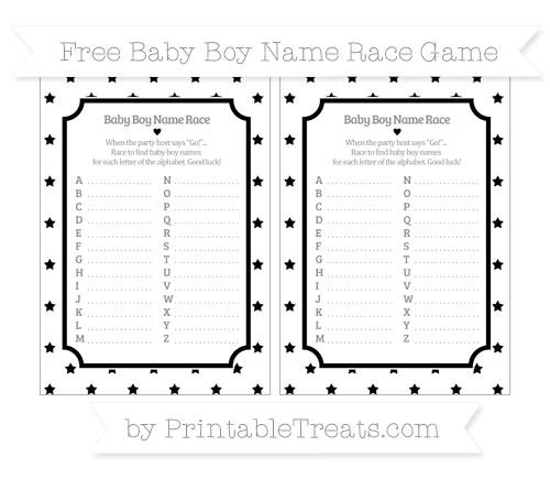 Free Black Star Pattern Baby Boy Name Race Game