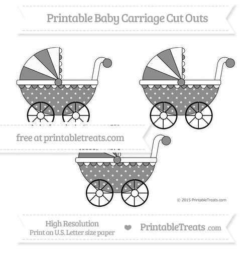 Free Black Star Pattern Medium Baby Carriage Cut Outs