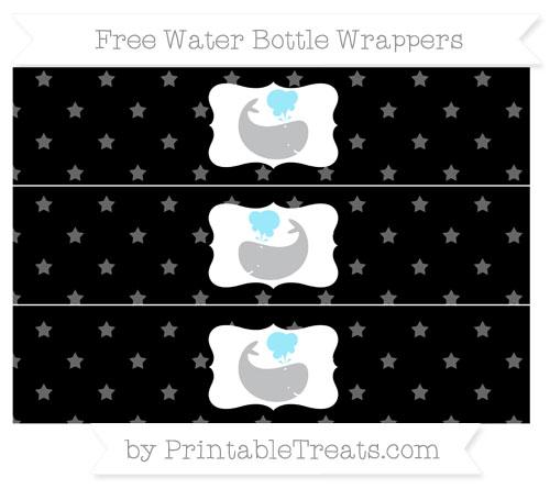 Free Black Star Pattern Whale Water Bottle Wrappers