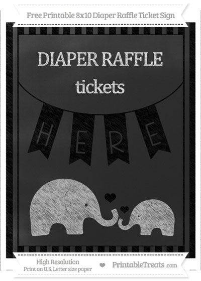Free Black Striped Chalk Style Elephant 8x10 Diaper Raffle Ticket Sign