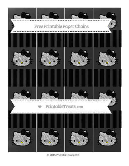 Free Black Striped Chalk Style Hello Kitty Paper Chains