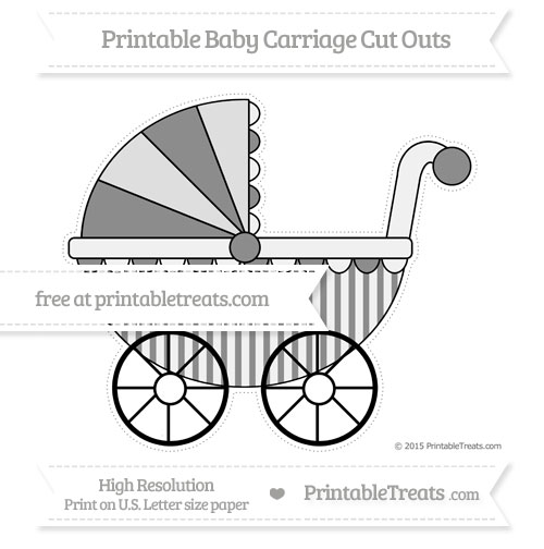 Free Black Striped Extra Large Baby Carriage Cut Outs